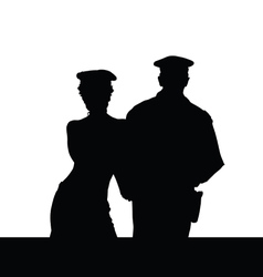 Couple in police uniform silhouette vector