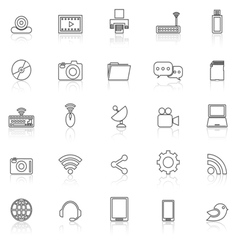 Hi tech line icons with reflect on white vector