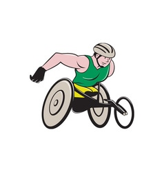 Wheelchair racer racing isolated vector