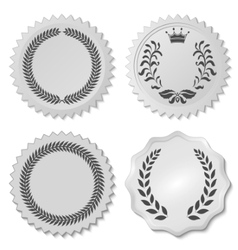 Stickers set with laurel wreaths vector