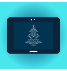 Christmas tree on tablet screen vector