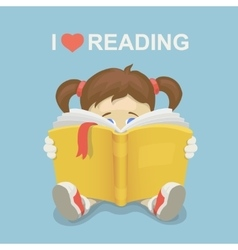 Girl kid reading a book i love reading vector