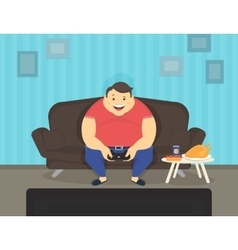 Fat man sitting at home on the sofa playing video vector