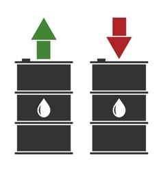 Black oil barrel with red and green arrows on vector