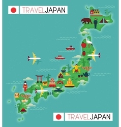 Travel map of japan vector