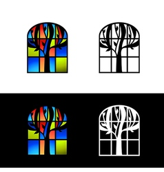 Mosaic Glass Window vector image