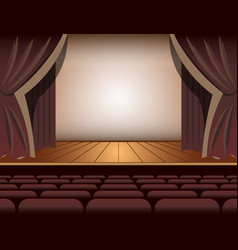 A theater stage with a curtain and seats vector