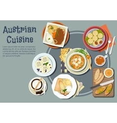 Austrian dinner with viennese desserts flat icon vector image vector image