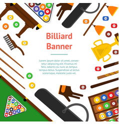 Billiard game equipment banner card vector