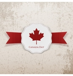 Canada day holiday red and white greeting badge vector