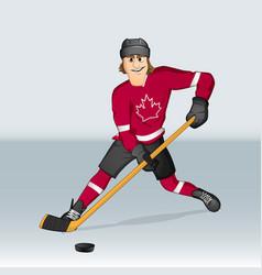 canadian ice hockey player vector image vector image