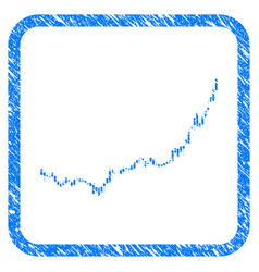Candlestick graph growth acceleration framed stamp vector