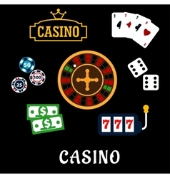 Casino flat icons with gambling symbols vector image vector image