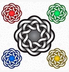 Circular octagonal logo template in celtic knots vector