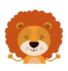 Colorful half body caricature of cute lion vector