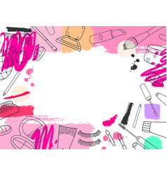 cosmetics banner background hand drawn vector image