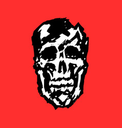 Crashed human skull vector