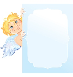 Cute angel peeking round from behind frame vector
