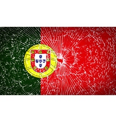Flags Portugal with broken glass texture vector image