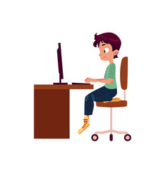 Flat cartoon teen boy at computer desk vector