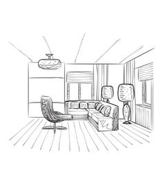 hand drawing interior vector image vector image