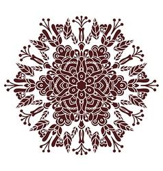 Hand drawing zentangle mandala element in marsala vector image
