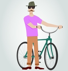 Hipster with bicycle vector