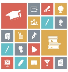 Icons tile education vector