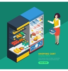 Isometric Supermarket Interior vector image