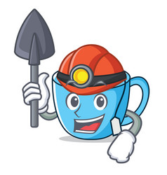 Miner tea cup mascot cartoon vector