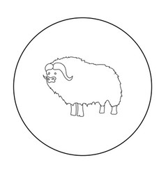 Muskox of stone age icon in outline style isolated vector