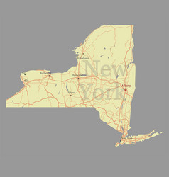 new york city accurate exact detailed state map vector image vector image