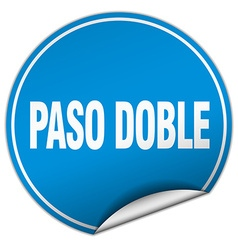 paso doble round blue sticker isolated on white vector image vector image