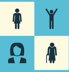 People icons set collection of old woman female vector