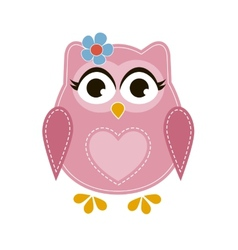 Pink cartoon owl vector image