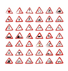 Set of 42 traffic signs sketch for your design vector