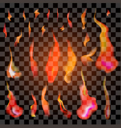 Set of isolated realistic orange and red fire vector