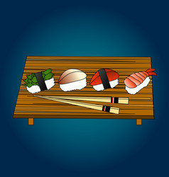 sushi set sea food maki and rolls japanes vector image vector image