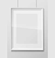Vertical white photo frame with glass vector