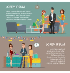 Women and man Corporate holiday Cartoon poster vector image