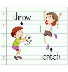 Word card throw and catch vector