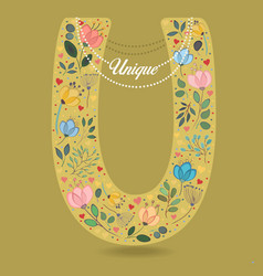 yellow letter u with floral decor and necklace vector image