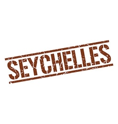 Seychelles brown square stamp vector