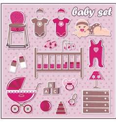 Set of baby girl icons vector