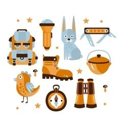 Camping themed symbols vector