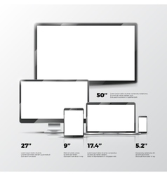 Blank tv screen lcd monitor notebook tablet vector