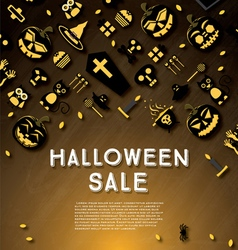 Halloween sale banner with pumpkin vector
