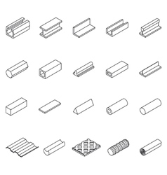 Metal icon thin line set vector