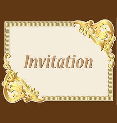 Background frame vintage invitation with gold vector