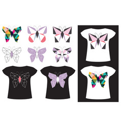 butterfly application on t-shirt vector image